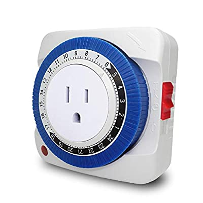 24 Hour Plug-in Electric Mechanical Outlet Timer 3 Prong Grounded, 48 ON/OFF Programs Timer Light Switch for Indoor Appliance and Lights
