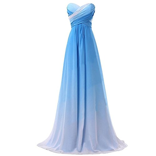- Sweetheart A Line Criss Cross Gradient Chiffon Prom Evening Dresses Blue White US 8