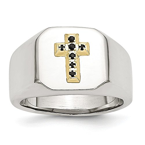 Stainless Steel 14k w/Sapphire Cross Ring Size (Antique Sapphire Cross)