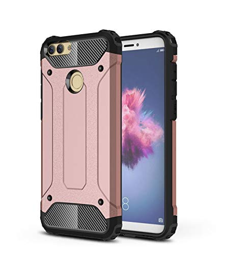 For Huawei P Smart FIG-LX1 – New Classic Rose Gold Armour Shock Proof Dual Layer Phone Case Cover + Screen Protector For…