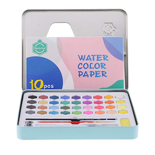Baosity 36 Colores Pinturas A Agua En Estuche Metálico Para Principiantes, Niños Y Artistas O Uso Propio - Azul