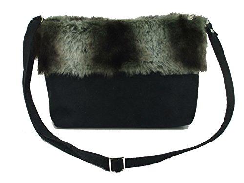 Crossbody Shoulder Fur Faux Black Bag LONI LONI Suede Faux nwUZzYqZ