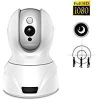 Security Camera FHD 1080p Wireless IP Camera Pan/Tilt/Zoom Night Vision Two-way Audio Surveillance Camera Motion Detection Alerts