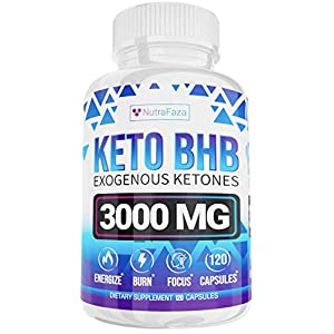 Keto Diet Pills – 5X Dose (2 pack | 3000mg Keto BHB) – Best Exogenous Ketones BHB Supplement for Women and Men – Boost Energy & Focus, Support Metabolism – Made in USA – 120 Capsules