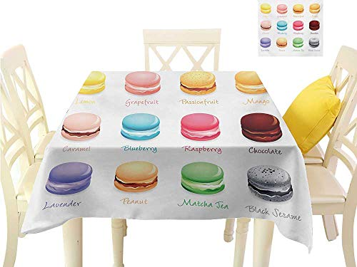 familytaste Printed Tablecloth Tea Party,Colorful French Macaron Cookies with Different Flavors Delicious Sweets Cuisine,Multicolor Dining Kitchen Table Cover W 50