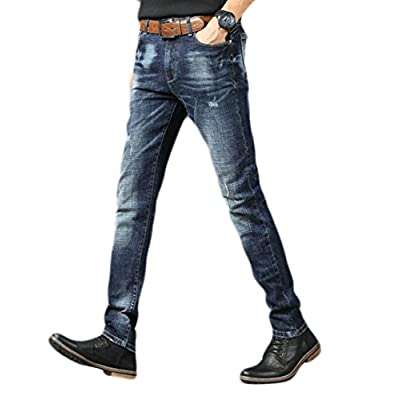 New ONTBYB Men's Business Skinny Jeans Stretch Washed Slim Fit Straight Pencil Pants free shipping