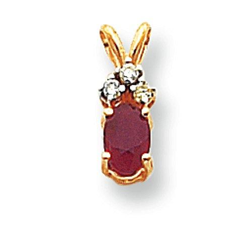 6 x 4 mm 14 carats Rubis ovale et de diamants bruts Pendentif JewelryWeb