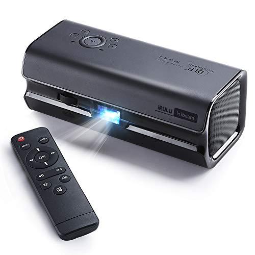 Mini DLP Home Theater Projector,iRULU Portable Stereopticon,Smart Epidiascope,115 ANSI lm Remarkable Picture Pocket Cinema,Dual 360°Speaker,HiFi Stereo Sound Black