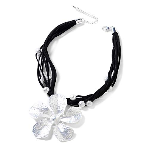 Shop LC Delivering Joy Black Multi Strand Faux Leather Silvertone Station Jasmine Flower Necklace Gift Jewelry for -