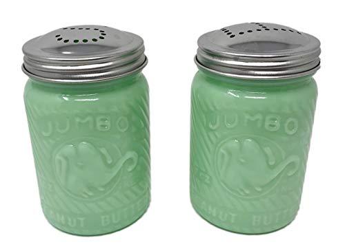 Jadeite Green Glass Elephant Round Salt & Pepper Shaker Set Reproduction Depression Style Jadite ()