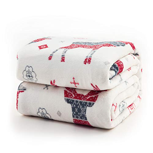 Bedsure Christmas Flannel Fleece Throw Blanket – Holiday Theme Home Decor,Super Soft Plush Warm Winter Blanket for Bed, Couch, and Gifts,Elk Pattern, 60 x 80 inches, Red/Grey/White