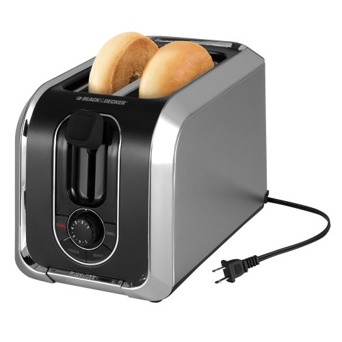 BLACK+DECKER TR1200SB 2-Slice Toaster, Bagel Toaster, Stainless Steel
