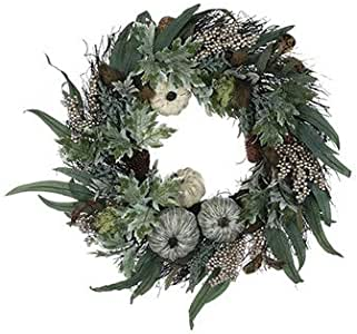 Napco Imports White Pumpkins & Green Leaves 24 Inch Artificial Greenery Decorative Harvest Wreath