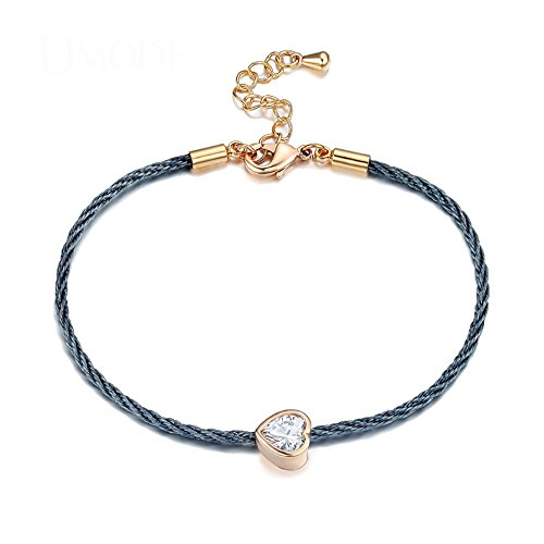 Sacow Charm Love Heart Chain Rope Bracelet, Women Rose Gold Color Bracelet Jewelry