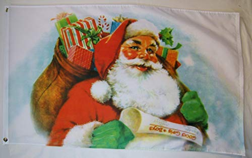 (Santa Claus With Bag Of Presents For Girls And Boys Flag 3' X 5' Banner)