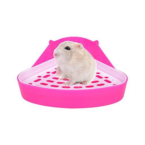 Guinea Pig Potty Trainer Triangle Toilet Litter Box for Hamster Ferret Gerbil (Pink)