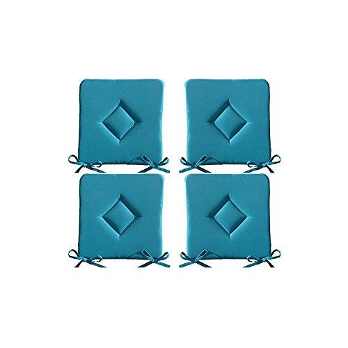 Set di 4 cuscini da sedia imbottiti - cuscini da esterno - motivo trapuntato a rombo - 40x40x3, 5 cm - turchese Hussen-Discount