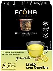 Cápsulas de Chá Limão com Gengibre Aroma Selezione, Compatível com Nespresso, Contém 10 Cápsulas