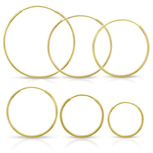 14k Yellow Gold Women's Endless Tube Hoop Earrings 1mm Thick 10mm – 20mm …