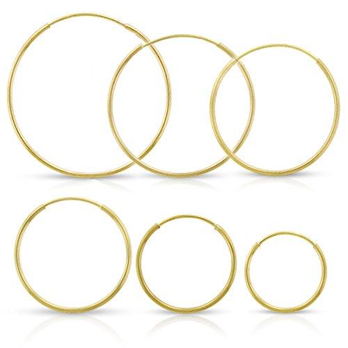 14k Yellow Gold Women's Endless Tube Hoop Earrings 1mm Thick 10mm – 20mm …