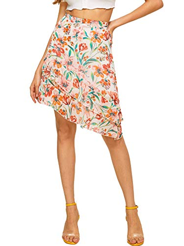 WDIRARA Women's Mid Waist Above Knee Ruffle Trim Asymmetric Floral Skirt Multicolor S