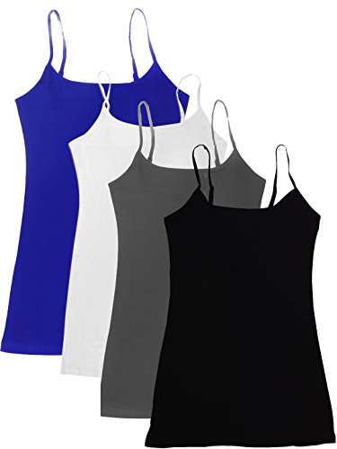 4 Pack Active Basic Women's Basic Tank Tops Large Black, Charcoal, Royal, White