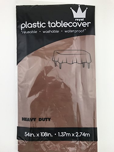 Royal Pack of: 12 54 x 108 Plastic Table Cloth, Plastic Party Table Cover, Reusable Plastic Table Cloth, Disposable Rectangular table cover (CHOCOLATE)