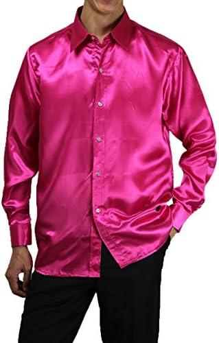 サテンシャツ 12色 サテン シャツ Yシャツ レギュラーカラー ステージ衣装 ダンス衣装 発表会 合唱 忘年会 カラオケ衣装 男女兼用 27sh1