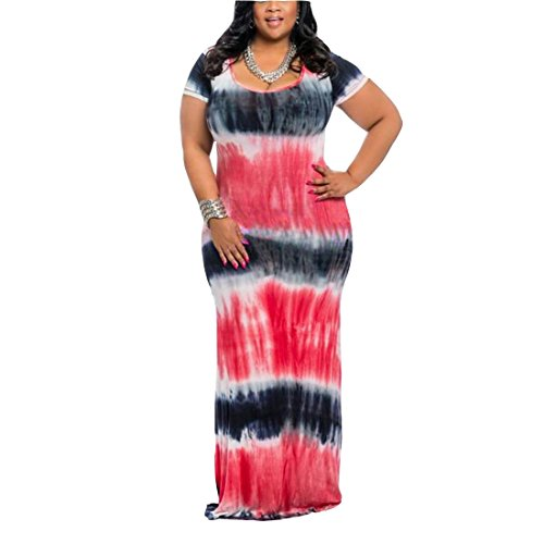 FEIYOUNG Women's Short Sleeve Tie Dye Long Maxi Printed Gown Dress Full Length