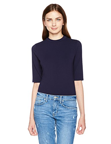 Essentialist Women's High Crew-Neck Half-Sleeve Bodysuit (Small, Navy)