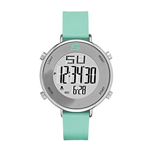 Skechers Women's Magnolia Quartz Metal and Silicone Digital Watch Color: Silver, Mint Green (Model: SR6070) (Mint Watch)