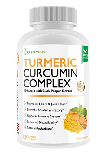 Premium Turmeric Curcumin Complex with BioPerine (Black Pepper Extract) – 1000 mg (700mg of Organic Turmeric and 300 mg of Curcuminoids per Serving) • 120 Veggie Caps