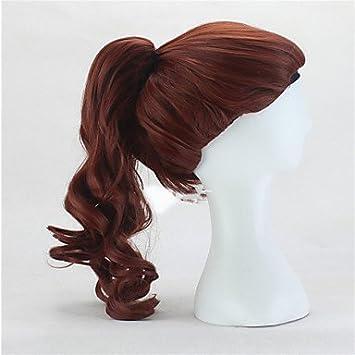 OOFAY JF® peluca aurora bella durmiente princesa largo de color marrón pelucas cosplay de anime