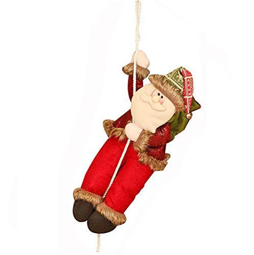 Christmas Rope Toy - Chnaivy Climbing Santa Claus with Rope Christmas Decoration Indoor Outdoor Hanging Ornament Wall Window Hanging Pendent Ornament Present Lovely Gift Toy (17 ''/ Medium)