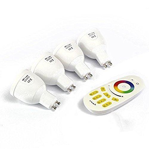 Mi-Light Remote Control System 4 Confezione: 4 x 4W GU10 LED 1,6 milioni Colore lampada bianca calda per Mi-Light dimmerabili 2.4Ghz RF Remote Control System [Classe energetica A +] [Classe energetica