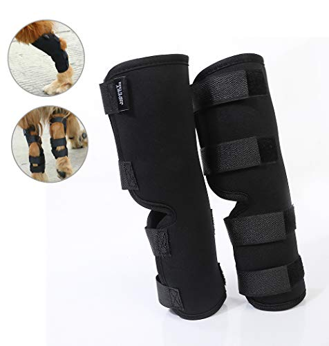 Yuqoka Dog Knee Brace for Torn Acl Hind Back Leg Dog Canine Protector Rear Leg Hock Joint Wrap Protects Compression Sleeves for Injury and Sprain Protection (L)