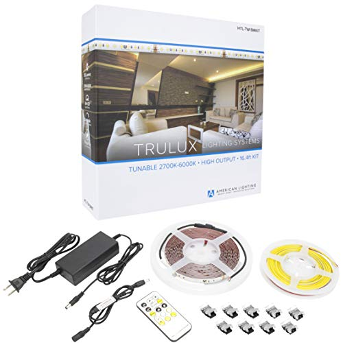 American Lighting HTL-TW-5MKIT Collection Trulux IP54 High-Output LED Tape Light Kit, Single Reel Kit-16.4-Feet, Tunable 2700-6000K