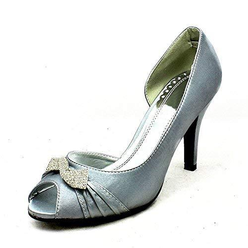 Diamante Plata Zapatos Abierto Boda Arremolinaban Broche De Satén Se Lado Señoras pzHBO