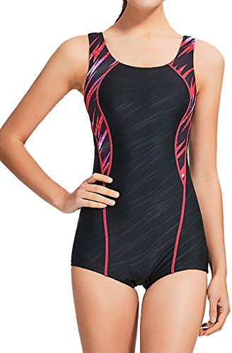 Women Swimsuit Sport Pro One Piece Athletic Racerback Swimwear Boyleg Sports Bathing Suits XS