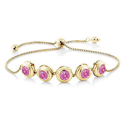 18K Yellow Gold Plated Silver Bracelet Set with Pink Zirconia from ()