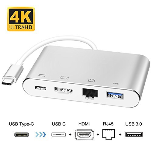 USB Type C to HDMI Adapter, Topoint USB-C to HDMI Hub with Gigabit Ethernet Port, USB 3.0 Port and Power Delivery Port for New MacBook/MaBook Pro 2016/2017, Samsung S8/S8 Plus