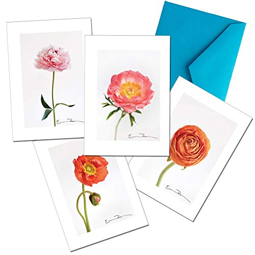 Derby Designs Premium Blank Greeting Cards + Envelopes, 12-Pack, Peonies & Poppies (Poppy Stationery)