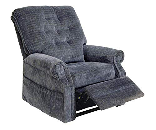 Catnapper 4824 Power Lift Recliner Lay-Out Chair - Soft and Durable Polyester Fabric - Elegant Button Back Design (Slate Blue) - Weight Capacity 350 lb. ()
