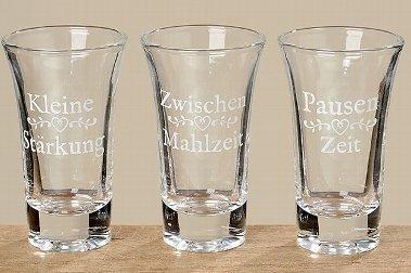 6 Schnapsgläser sortiert H9cm 70ml klar Glas klar