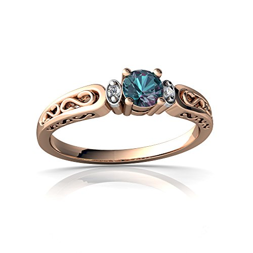 14kt Rose Gold Lab Alexandrite and Diamond 4mm Round filligree Scroll Ring - Size 7