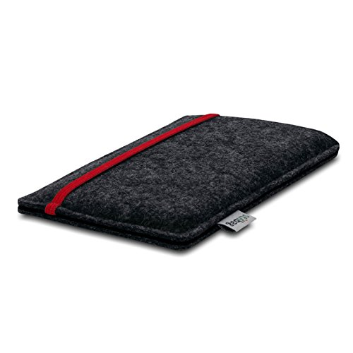 Stilbag Etui Feutre 'LEON' pour Apple iPhone SE - Couleur: rouge-anthracite