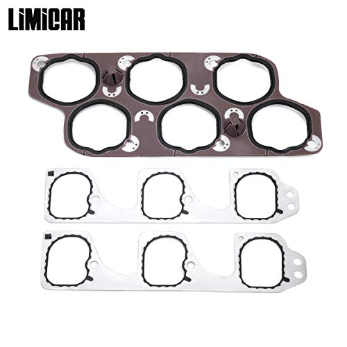 (LIMICAR Engine Intake Gasket Set with Upper & Lower Intake Gaskets 12598158 Compatible with 2004-2011 Buick LaCrosse Rendezvous Cadillac CTS SRX STS Chevrolet Malibu Pontiac G6 G8 Saturn Aura 3.6L)