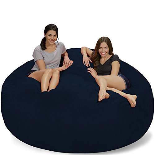 Chill Sack Bean Bag Chair: Giant 7' Memory Foam Furniture Bean Bag - Big Sofa with Soft Micro Fiber Cover - Navy Micro Suede