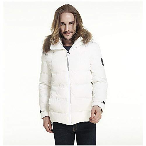 Men's Winter Coat Warm Hooded,Autumn Winter Parka Jacket Casual Fashion Down Jackets White