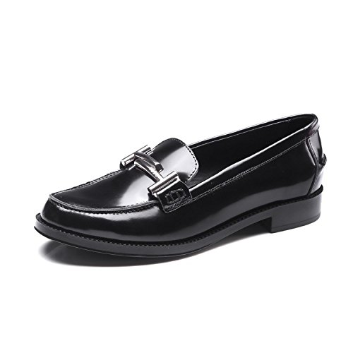 De MUYII Zapatos Mujer Cuero Planos Británicos Zapatos De Cuero Black Para gRWwErgnq